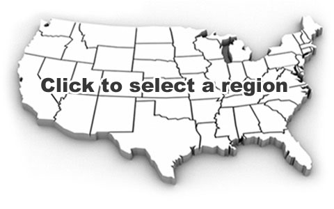 News By Region - Blank map of western us